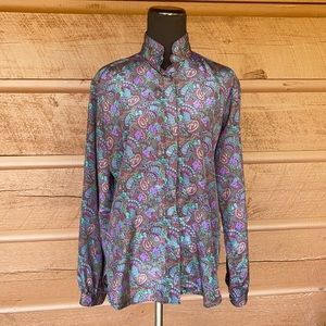Vintage Hall Brown Paisley Button Front Blouse  12